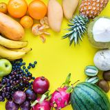 Top View Set Tropical Fruits Yellow Background Stock Photos
