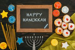 Frame with happy hanukkah royalty free stock photos