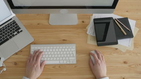 Top View Freelancer Working Typing Laptop Keyboard stock footage