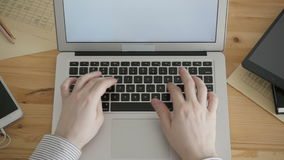 Top View Freelancer Working Typing Laptop Keyboard. Business Concept stock video footage