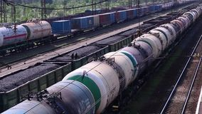 Top view of freight train with tanks stock footage