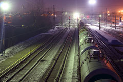 Top view of freight train with tanks on railways Stock Images