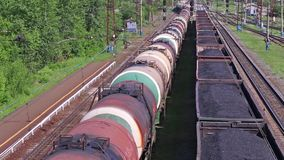 Top view of freight train with tanks stock video