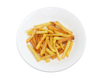 Top view of the French fries on the white dish Royalty Free Stock Photos