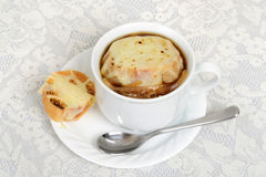 Top view french onion soup Royalty Free Stock Photos