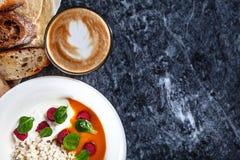 Top view on fresh breakfast. stock photos