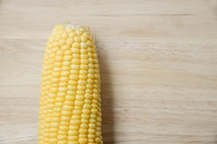 Top view of fresh corn on the wood table.  Royalty Free Stock Photos