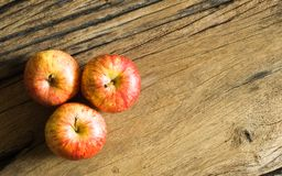 Top view of fresh gala apples on wood background with copy space Stock Images