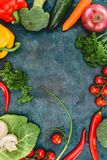 Top view of fresh healthy vegetables. On black Royalty Free Stock Photos