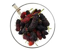 Top view of fresh mulberry or mulberries isolated. stock photos
