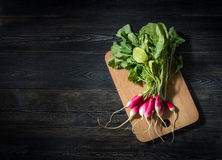 Top view of fresh radishes. On a wooden cutting Board Stock Image