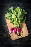 Top view of fresh radishes. On a wooden cutting Board Royalty Free Stock Photos