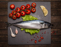 Top View of Fresh Raw Whole Fish Mackerel on Slate Cutting Board. Surrounded by Fresh Herbs and Spices for Seasoning and Garnishing Royalty Free Stock Photo