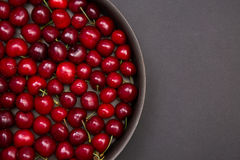 Top view of fresh red cherries Stock Images