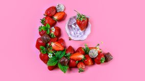 Top of view fresh strawberry and chocolate Isolated on pink background. Healthy food. free space for text royalty free stock photo