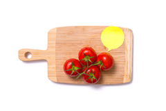 Top view of fresh tomatoes on chopping board with speech bubble Royalty Free Stock Image