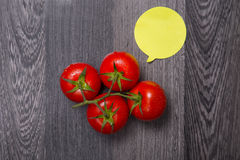 Top view of fresh tomatoes with speech bubble Stock Image