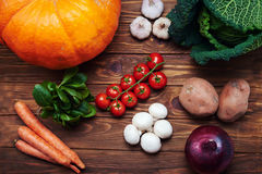 Top view at fresh vegetables on a wooden table Stock Image