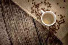 Top view of freshly brewed cup of delicious coffee Royalty Free Stock Images