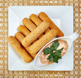 Top view of fried chicken nuggets with spicy sauce Royalty Free Stock Images