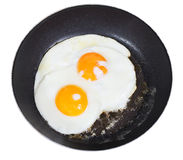 Top view of fried eggs in pan isolated on white Stock Photos