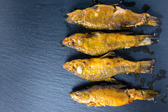 Top view of fried tench fish served on slate background, close u Stock Photos