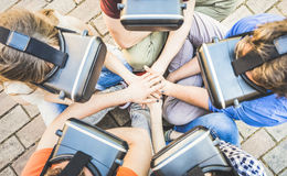 Top view of friends group playing on vr glasses with hands stack royalty free stock photo