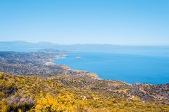 Free Top View From The Autumn Mountains To The Village Of Malia, Roads And The Nearby Villages Of The Field And The Aegean Sea. Crete Royalty Free Stock Photo - 153486465