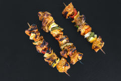 Top View From Three Grilled Shaslik Skewers Served On A Slate Wi Royalty Free Stock Image