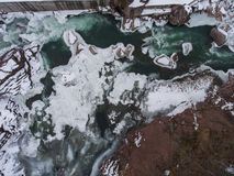Top view of frozen azure river. Stock Photo