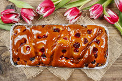 Top view of fruit cake in rectangular pan Stock Photo