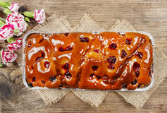 Top view of fruit cake in rectangular pan Stock Images