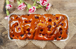 Top view of fruit cake in rectangular pan Royalty Free Stock Photography
