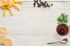 Top view of fruit tea on wooden plank table royalty free stock images
