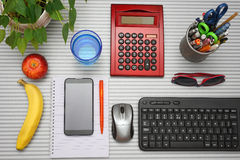 Top view of full office desk Royalty Free Stock Images