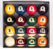 Top view of a full set of billiards balls inside. An box Stock Images