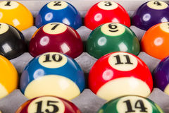 Top view of a full set of billiards balls inside an box. Nobody Royalty Free Stock Photography