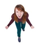 Top view of the furiously screaming, angry woman. Stock Image