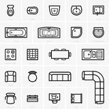 Top view furniture icons Royalty Free Stock Image
