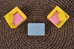 Top view of furniture toy on grass intertexture Royalty Free Stock Images
