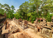 Top view of galleries of ancient Ta Keo temple in Angkor Stock Photo