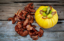 Top view.  Garcinia cambogia fresh fruit on wood background.  Fr. Top view. Garcinia cambogia fruit and dry garcinia on wood background. Garcinia atroviridis is Stock Images
