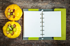 Top view. Garcinia cambogia fresh fruit on wood background.  Fru. Top view. Garcinia cambogia fresh fruit on wood background with book. Garcinia atroviridis is a Royalty Free Stock Image