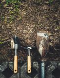 Top view of gardening tools. On soil Stock Photo