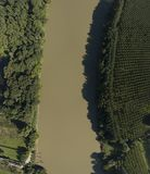 Top View of Garonne river Rainforest royalty free stock photography