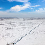 Top view of gas pipeline in tundra Stock Image