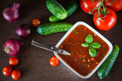 Top view of gazpacho ingredients Royalty Free Stock Photos