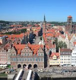 Top view on Gdansk (Danzig)old town in Poland Royalty Free Stock Images