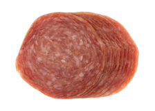 Top view of genoa salami slices Royalty Free Stock Image