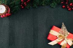 Gift box with golden ribbon Stock Image